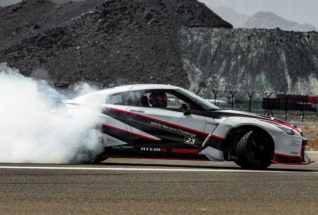 MY16 Nissan GT-R NISMO breaks the drifting speed world record at Fujairah International Airport, UAE, at 304.96kmh. Photo: Contributed