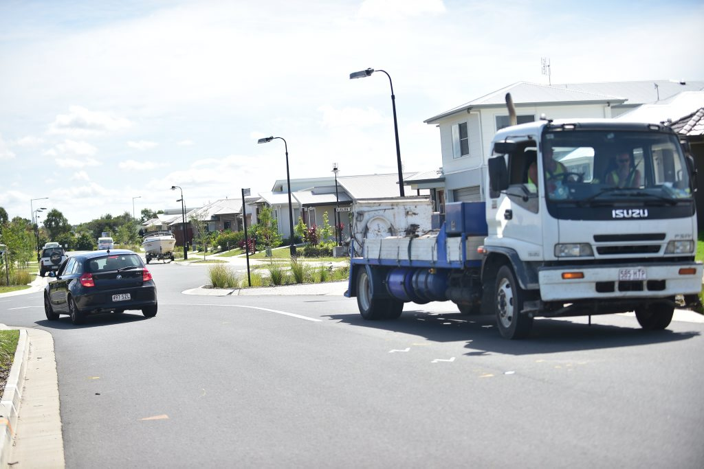 A child has been airlifted to Brisbane after being hit by a truck in a Caloundra West estate. The collision took place on Indigo Road, near the Amber Drive intersection opposite a popular park.
