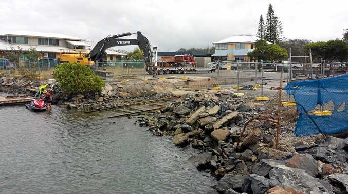 UNDERWAY: The construction of the Coffs Harbour Slipway is hoped to be complete by July.