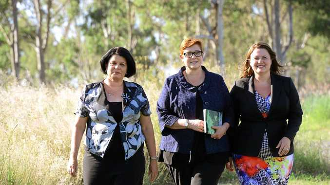EXCITING: Minister for Defence Marise Payne (centre) with Senator Joanna Lindgren (left) and LNP candidate for Blair Teresa Harding overlooking the proposed site for an Amberley Defence Support Centre.