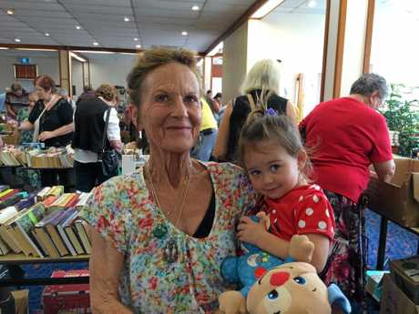 Gail Cooper with her granddaughter Violet Bennett who at just shy of two-years-old was the youngest buyer at the book sale.