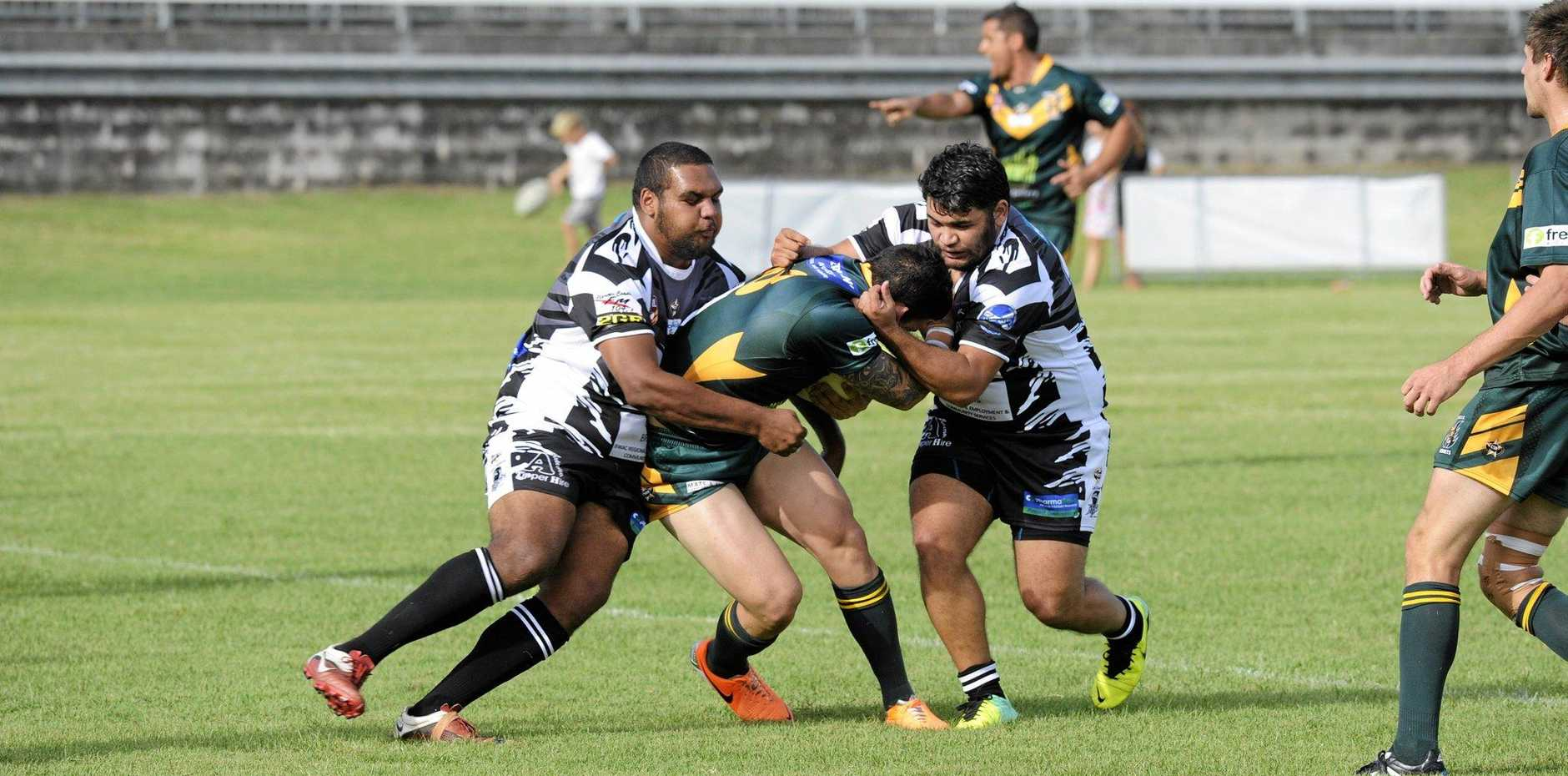 GAME ON: Magpie players Kurtis Laurie (left) and Ben Williams during the Lower Clarence Magpies versus Cudgen NRRRL match on Sunday.