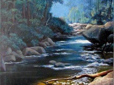 APRIL ARTIST: Pat Jenkins' painting on canvas, Coombadjah Creek – Washpool National Park.