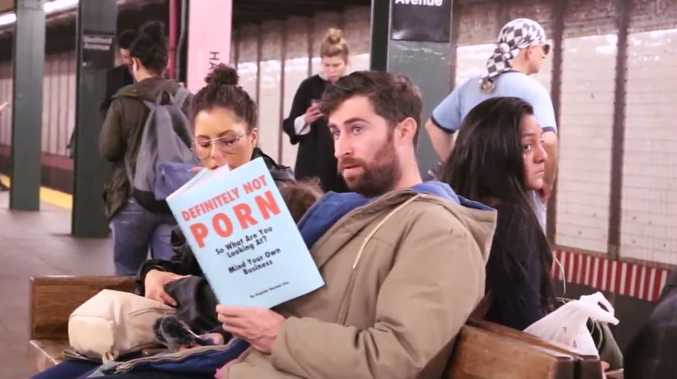 The fake books read by American comedia Scott Rogowsky that amazed and horrified commuters.