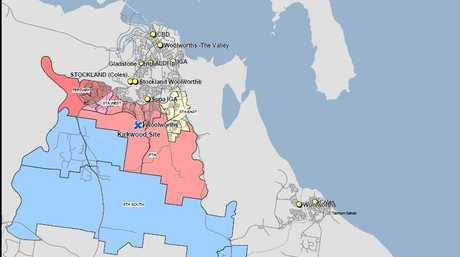 Gladstone trading areas (Kirkwood trade area is blue).
