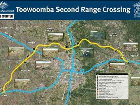 The Toowoomba Second Range Crossing alignment.