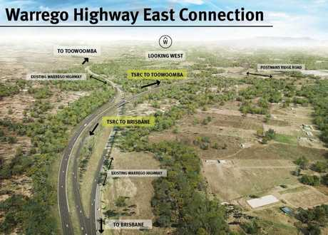 The Toowoomba Second Range Crossing Warrego Hwy east connection.
