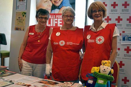 Australian Red Cross Lismore Branch members Julie Davis, Topsy Mason and Sue Pringle, ran a stall at the North Coast Seniors Expo on Saturday.
