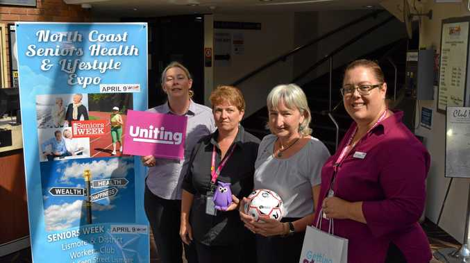 North Coast Seniors Expo sponsors including, from left, Rebecca Buerckner and Suzie Somerville from Uniting, Alison Cook from Newcastle Permanent and Jodie Anderson from Uniting, promoted their services at the expo.