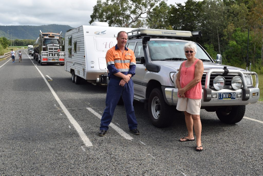 Commuters Tony George and Val Sweetman had waited more than an hour, as the Bruce Hwy was closed following the fatal crash. Photo: Emily Smith