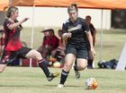 Jessica Bolelewski, Chinchilla and Sarah Glass, West Wanderers. West Wanderers vs Chinchilla, SWL Toowoomba Football .Sunday 10 Apr , 2016.