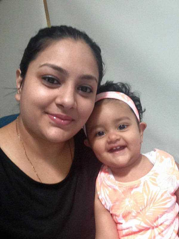 A supplied undated image obtained Sunday April 10, 2016 from Facebook of missing 15-month-old Sanaya Sahib pictured with her mother Sofina Nikat. Police believe the body of a young girl found in a Melbourne creek is Sanaya Sahib.