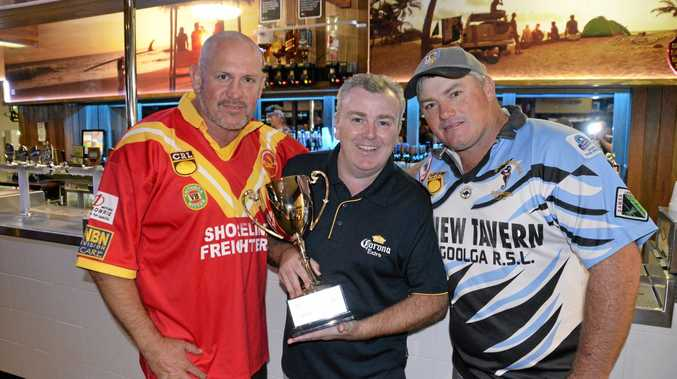 Coffs Harbour's Dion Dawes, sponsor Harry Barry, and Woolgoolga's Lee Harvey with the Dawes Harvey Cup trophy.