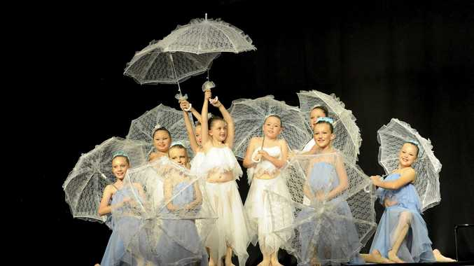 TEAMWORK: Studio 1 Academy of Dance performs in the U10 expressive creative dance section of the 62nd Grafton Dance Eisteddfod at the South Grafton High School auditorium on Sunday.