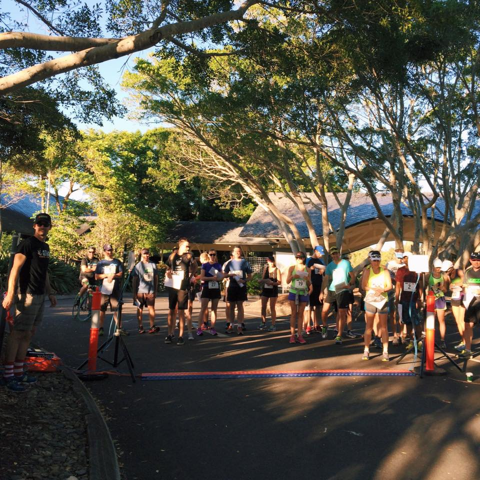 Runners begin the course.