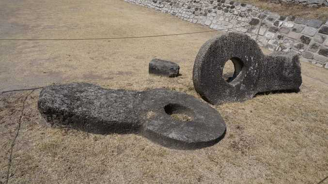 Ball courts at Xochicalco. These rings would hang from the sides of the court.