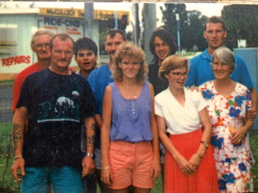 THE CLAN: (from left) Paddy, Malcolm, Quentin, David, Norma, Peter, Gail, Tony and Joan Ellison in the good old days.