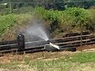 An acetylene cylinder was set alight on railway tracks in South Murwillumbah early Saturday morning.
