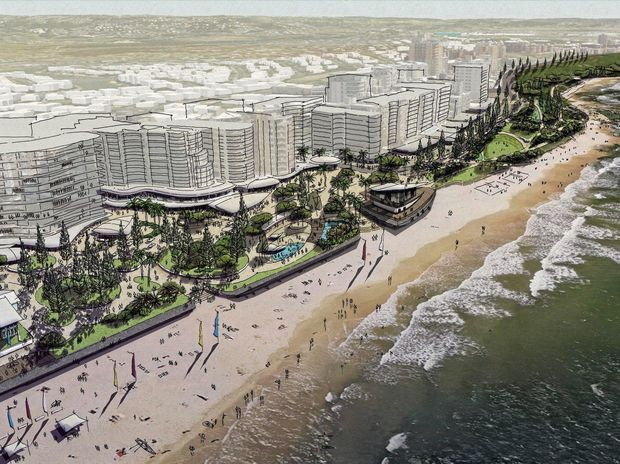 An early conceptual artist's impression of the Place Making Mooloolaba Plan foreshore.