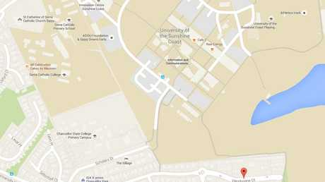 The map shows the distance between the Sippy Downs campus and student accommodation.