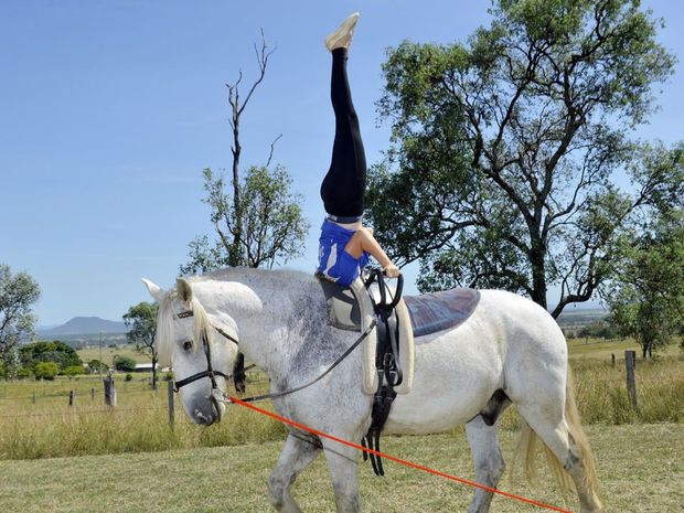 Sam Logovik started vaulting lessons with David Waller in Peak Crossing at the end of last year after attending a combined vaulting and trick riding clinic.