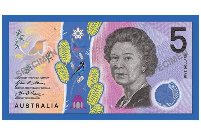 Basic design artwork for the signature side of the new Australian $5 banknote.