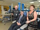 New Hervey Bay Cancer Care Service - (L) Ray Johnson (operations director), Keith Pitt (member for Hinkler) and former cancer patient Sally Mackay in the new facility. Photo: Alistair Brightman / Fraser Coast Chronicle