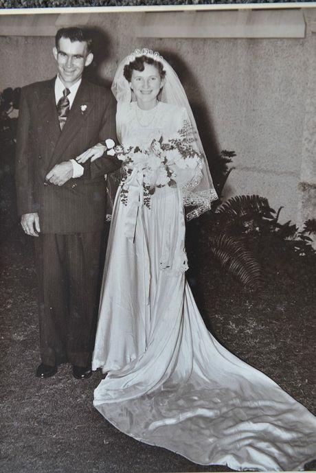 Copy of Sadie and Tom Brooks' original wedding photo from 1956.