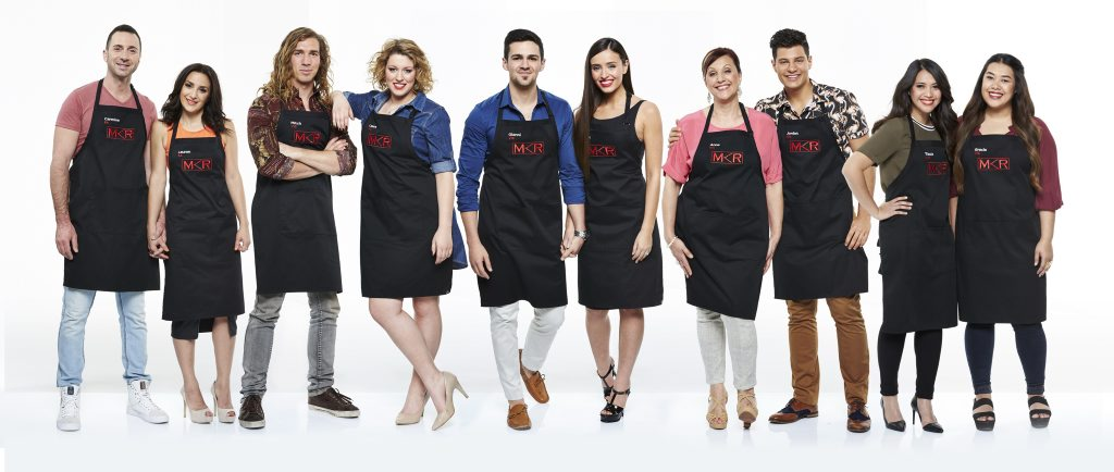 The My Kitchen Rules top five teams, from left, Carmine and Lauren, Mitch and Laura, Gianni and Zana, Anna and Jordan and Tasia and Gracia.