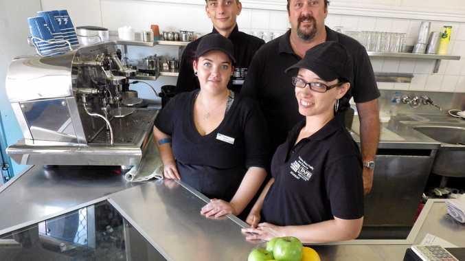REAL LIFE: TAFE students Anthony Wilkinson, teacher David Delaney, front, Shannon Marsh, Natasha Hartley at the shop.