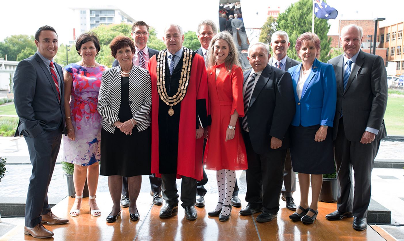 Cr James O'Shea (left), Cr Nancy Sommerfield, new TRC Deputy Mayor Cr Carol Taylor, Cr Geoff McDonald, Mayor Paul Antonio, Cr Mike Williams, Cr Megan O'Hara Sullivan, Cr Joe Ramia, Cr Bill Cahill, Cr Anne Glasheen and Cr Chris Tait at today's Declaration of Office ceremony at the Toowoomba City Library forecourt.