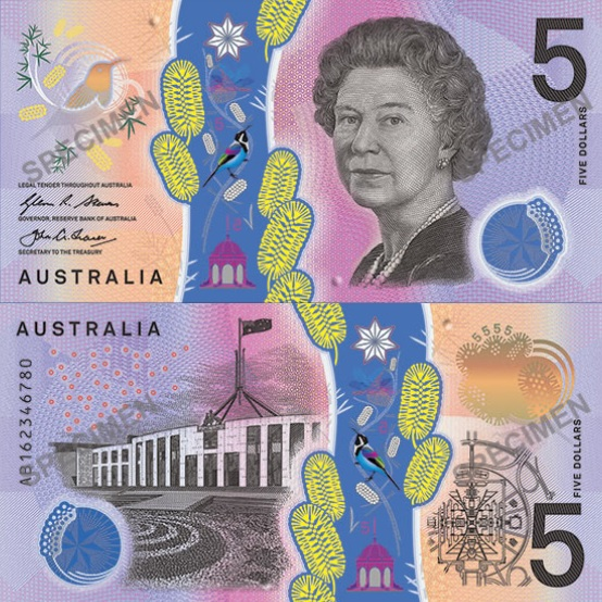 The new five-dollar note will be in circulation from later this year