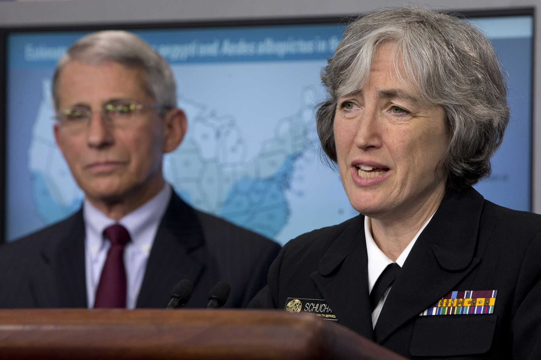 Dr. Anne Schuchat, principal deputy director of the Center for Disease Control, right, speaks about the Zika virus, accompanied by Dr. Anthony Fauci, director of NIH/NIAID during the news briefing at the White House.