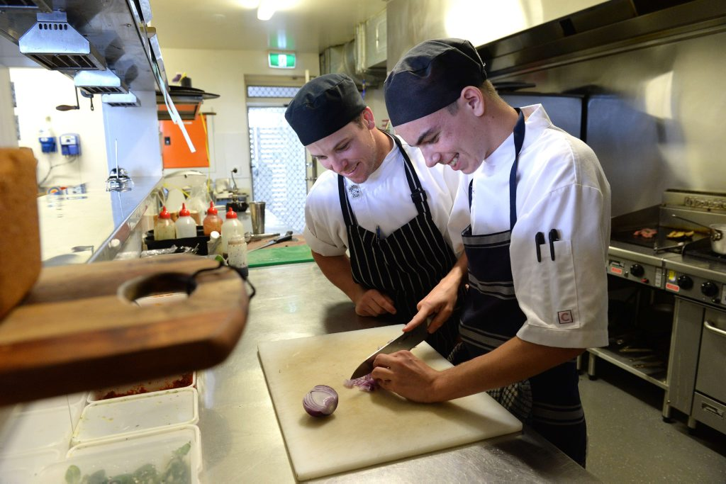 Rustic Mezedes chef Gerald Geerligs with TAFE apprentice Isaac Fallon