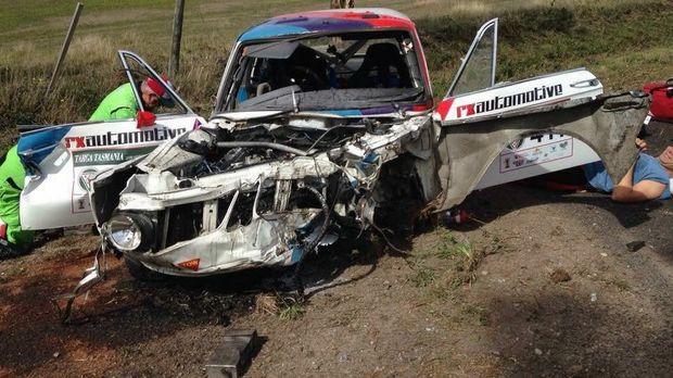 Rob van Wegen and Ben van Wegen's 1968 BMW 2002Ti following a crash on the 2016 Targe Tasmania rally. Photo: Facebook.