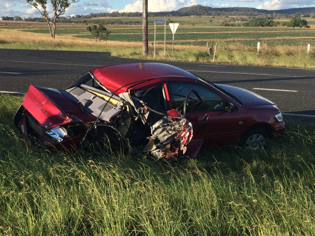 A car was rear-ended in a crash on the New England Hwy at Mt Marshall.