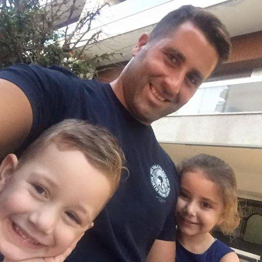Ali Elamine with his children.