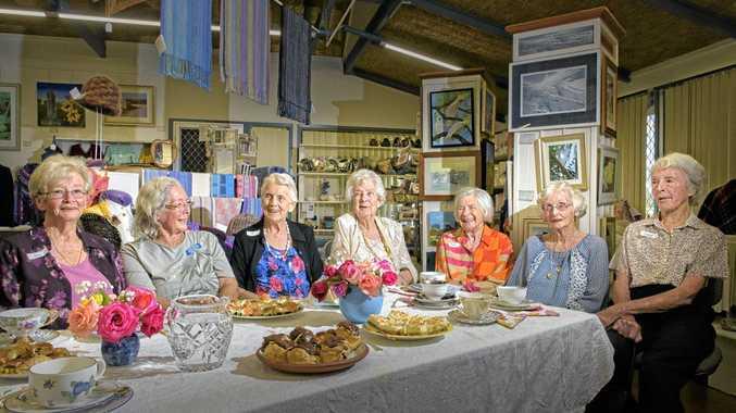 HIGH TEA: Art club stalwarts June Alexander, Irene Nowell, Pat Jenkins, Joan Marshall, Paula Braund, Anne McPherson and Isobel Wingfield commemorate 50 years of the club's first meeting.