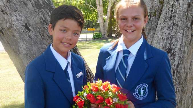 Maclean Public leaders Anna and Neeve at the Anzac Day service.