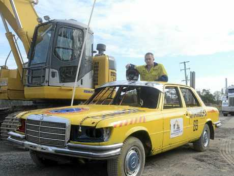 WRECKING MACHINE: John Dwyer in the Thirst Merc, which will take part in the demolition derby at the 125 Maclean Show.