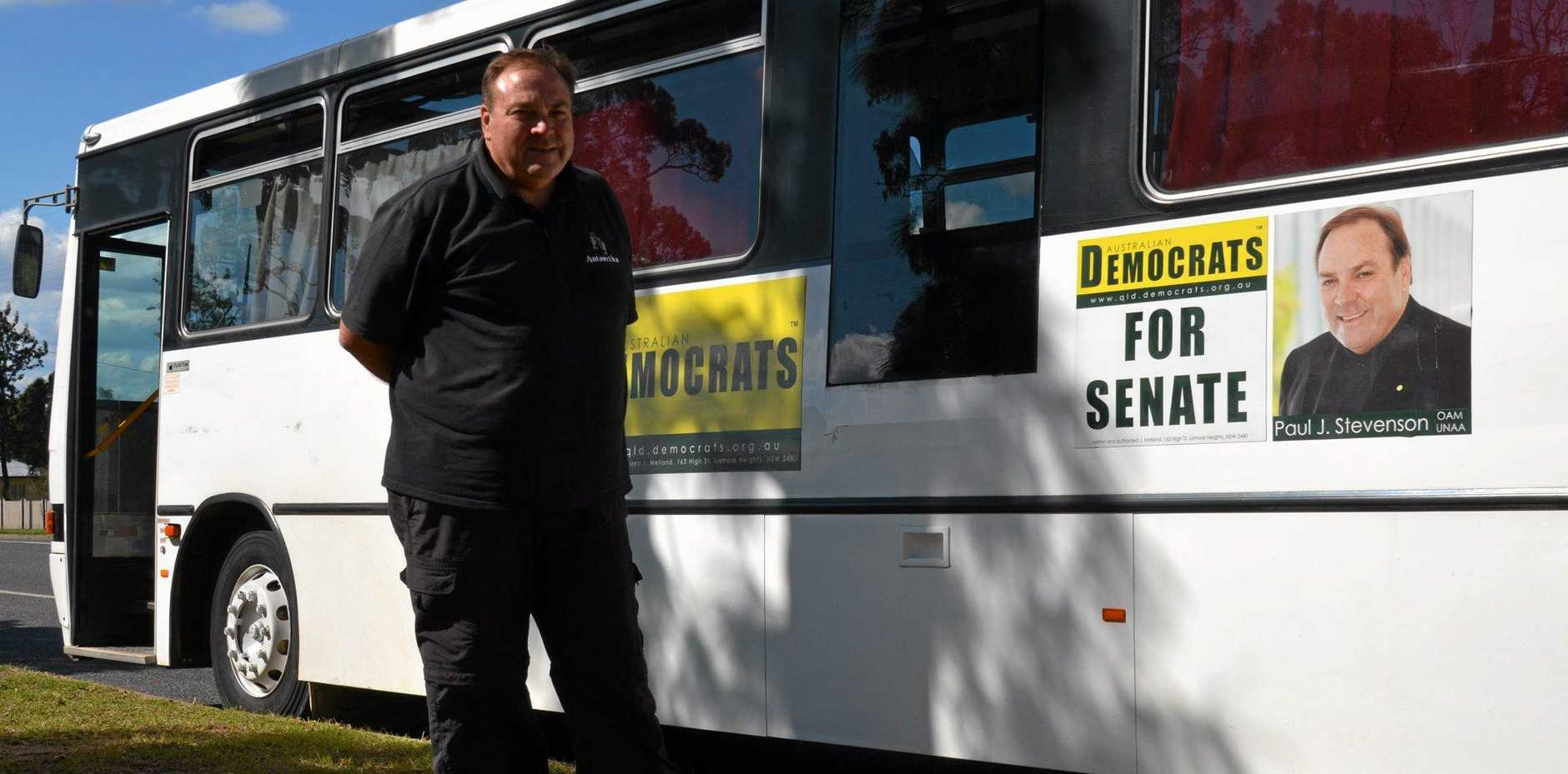 THE THICK OF IT: Senate candidate Paul Stevenson is looking forward to touring for the Australian Democrats.