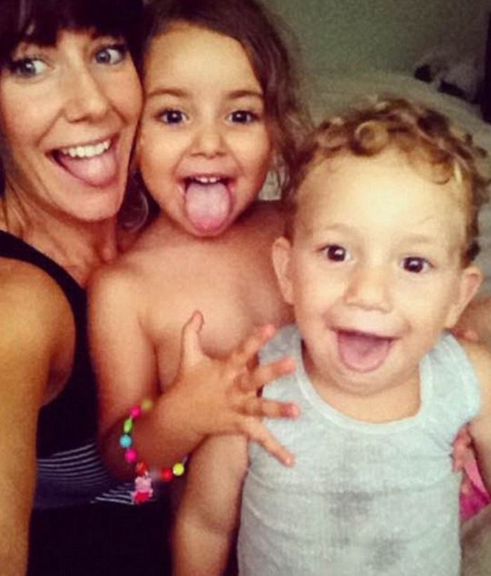 Sally Faulkner with Noah, 3, or Lahela, 5.