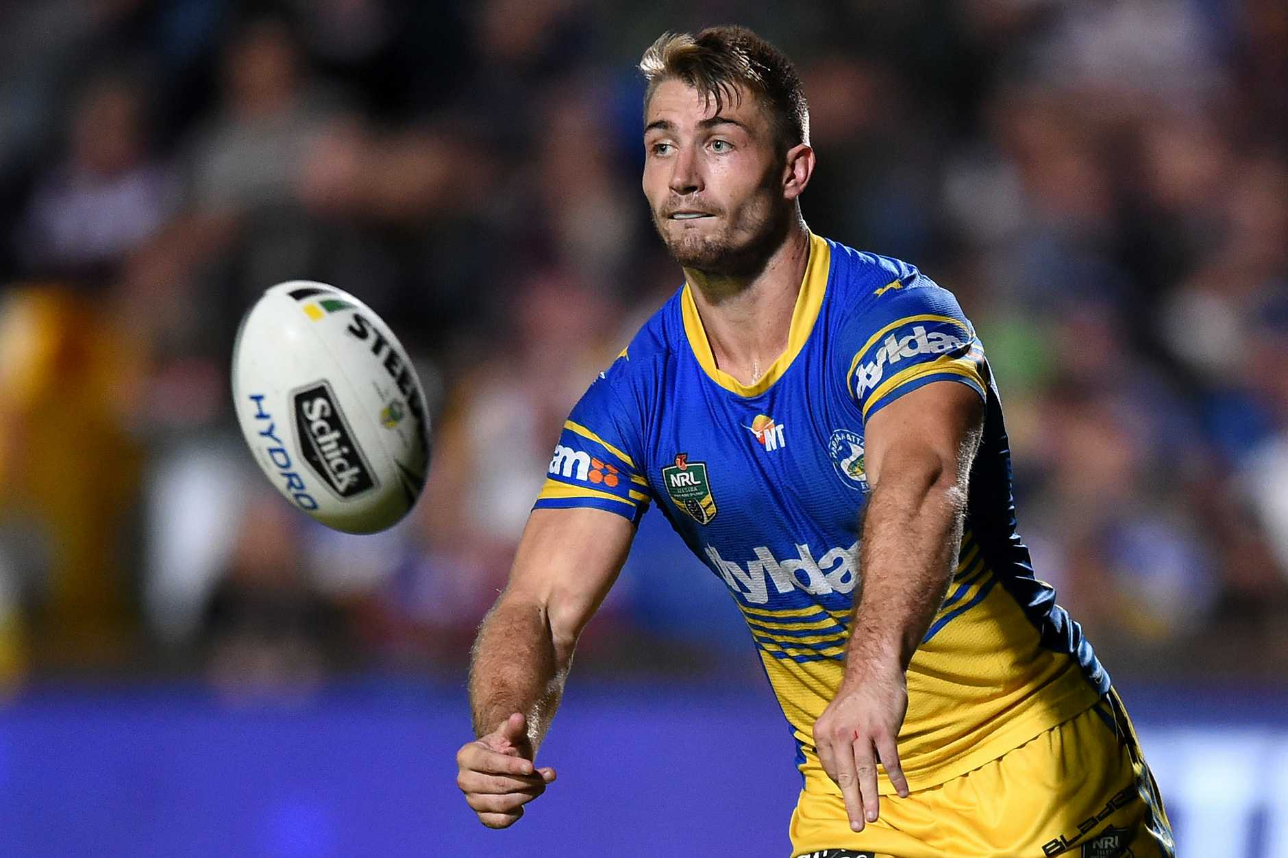 Kieran Foran of the Eels passes the ball at Brookvale Oval. Photo: AAP Image/Paul MilleR