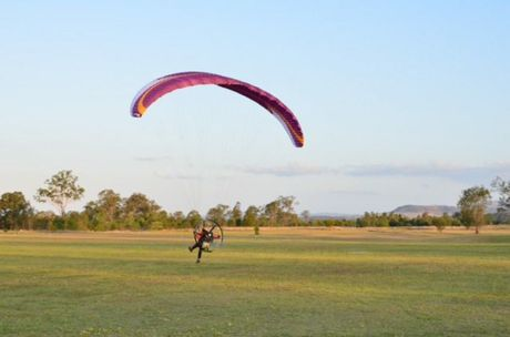 Coming into land after a race at Propfest paragliding competition is Toowoomba's Brendan McKenzie.