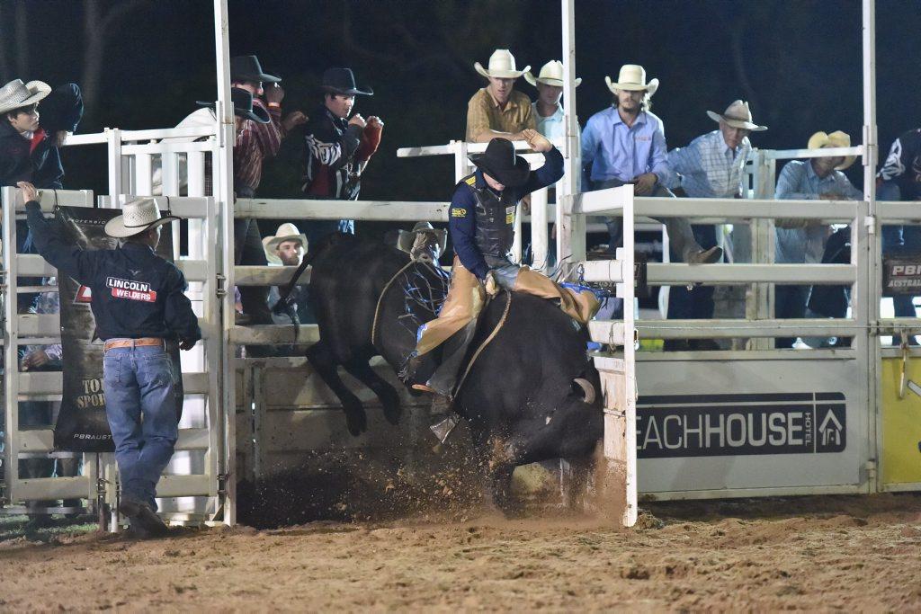 Pro Bull Riding Tour at Seafront Oval, Hervey Bay. Cody Heffernan on Bambino. Photo: Alistair Brightman / Fraser Coast Chronicle