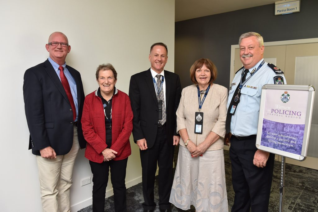 Women in policing - Bill Byrne (police minister), Carol Finger (administration award), Insp. Marcus Hill (Excellence in Research on Improving Policing for Women), Snr Sgt Robyn Hanly (trailblazer award) and Asst Commissioner Alistair Dawson. Photo: Alistair Brightman / Fraser Coast Chronicle
