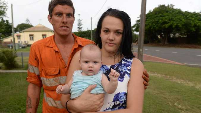 DANGEROUS STREETS: North Bundaberg residents Emily Burns and Lachlan Francis (with their daughter Ava) are worried about hoons in their street. Photo: Mike Knott / NewsMail