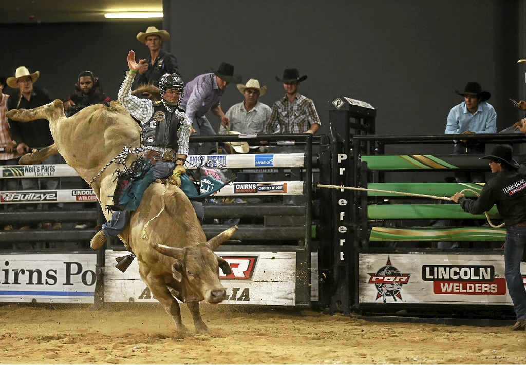 HARD RIDE: Bullrider Roy Dunn suffered a concussion during his first ride of the event.