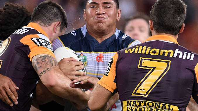 PACKING A PUNCH: North Queensland Cowboys forward Jason Taumalolo ploughs into the Brisbane Broncos defence during their epic Round 4 clash.