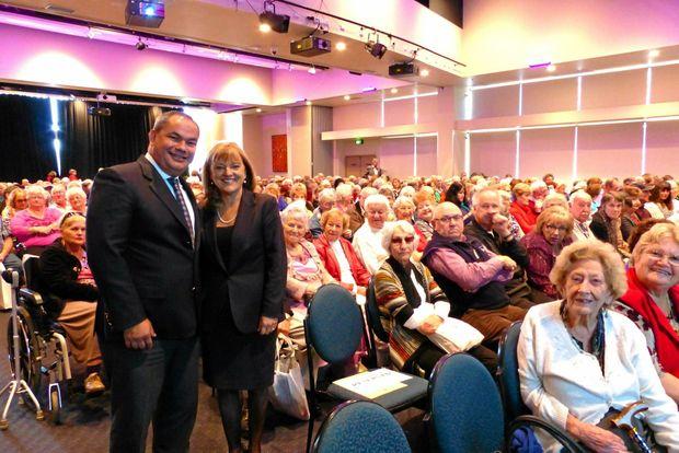 BACK AGAIN: Mayor Tom Tate with Deputy Mayor Donna Gates at a seniors concert on the Gold Coast.